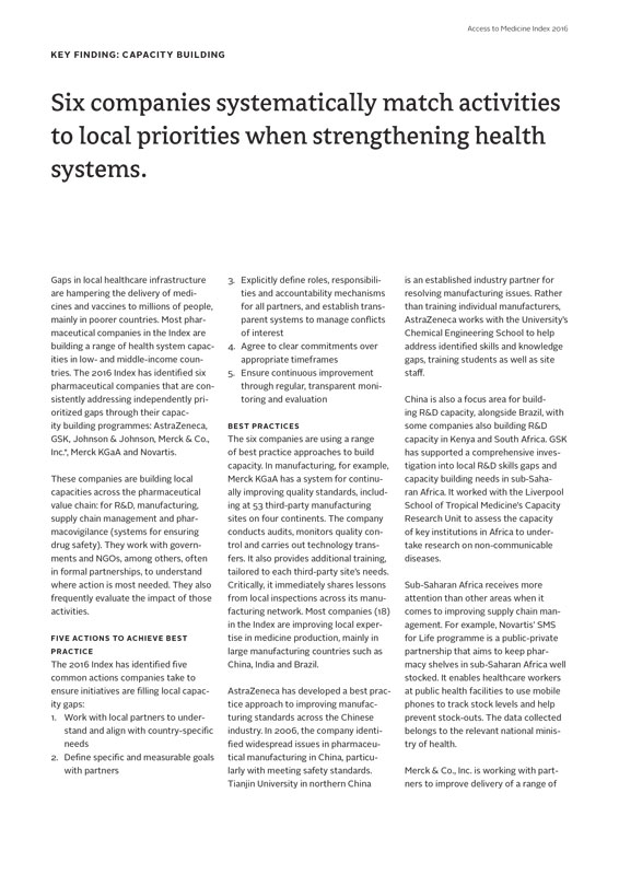 Six Companies Systematically Match Activities To Local Priorities When Strengthening Health Systems.